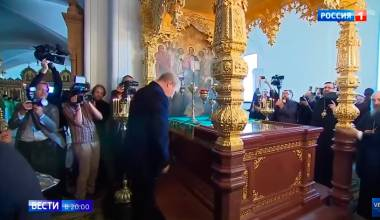 Putin Travels to 700 Yr Old Monastery on Largest Lake in Europe