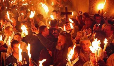 Holy Fire Has Descended in Jerusalem, in Church of the Holy Sepulchre