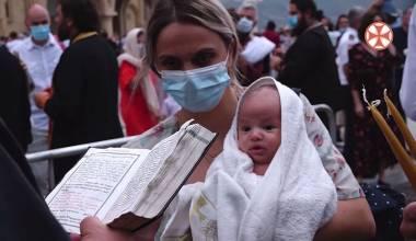 1.600 bebés fueron bautizados por el patriarca Ilia