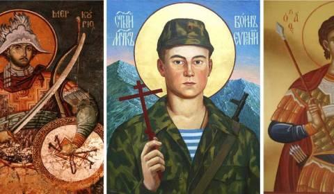 Santos guerreros rusos que portan armas, cuchillos y otras armas peligrosas