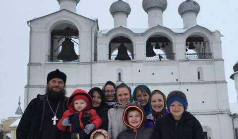 The Gleason family outside the Rostov Kremlin