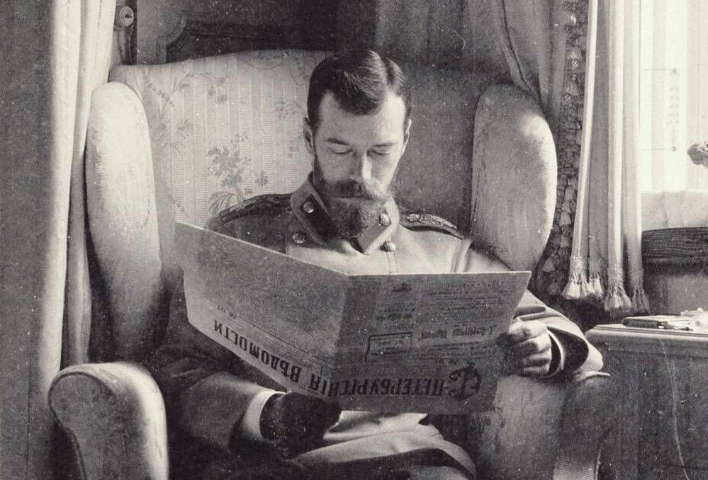 Nicholas II of Russia reading the St. Petersburg News.