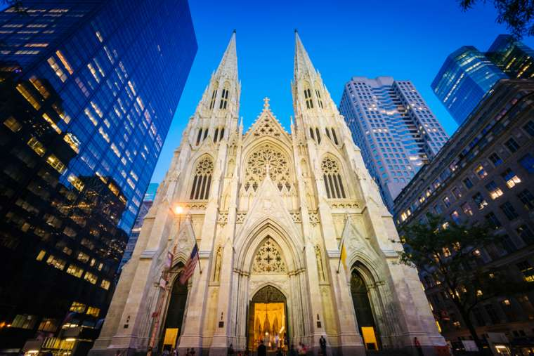 St. Patrick's Cathedral at night, in Manhattan, New York. Credit: Shutterstock